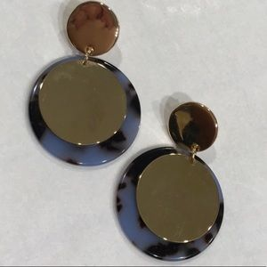 925 Silver Posts PERIWINKLE TORTOISESHELL Earrings